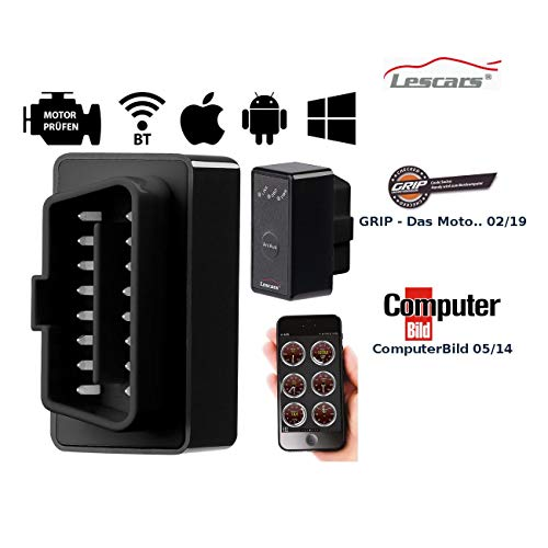 Lescars OBD Adapter: OBD2-Profi-Adapter mit Bluetooth, für Android-Mobilgeräte (OBD Bluetooth)