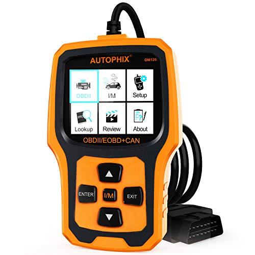 Autophix OM126 OBD2 Auto Diagnosegerät Universal OBD II Code Scanner Motordiagnose Werkzeug KFZ PKW Fehlerauslesegerät mit Sauerstoffsensortest Schwarz